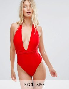 Deep Plunge Swimsuit With Cross Straps B-F Cup - Red