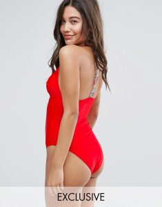 Embroidered Tape Back Swimsuit - Orange