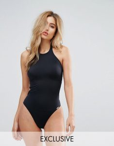 High Neck Powermesh Swimsuit - Black