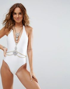 Irridecent Jewel Encrusted Harness Plunge Swimsuit - White