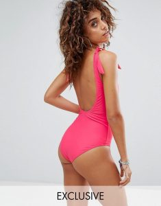 Knot Detail Low Back Swimsuit - Pink