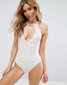 Minkpink Aurora Lace Cut Out Swimsuit - Cream
