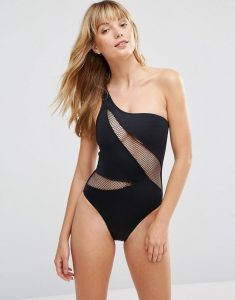 One Shoulder Swimsuit - Black