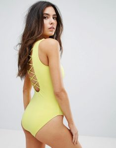 Strappy Back Swimsuit - Yellow