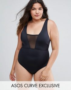ASOS CURVE Mesh Insert Supportive Swimsuit - Black