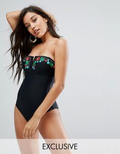 Exclusive Embroidered Swimsuit - Black
