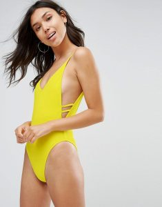 Plunge Side Swimsuit - Yellow