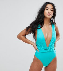ASOS PETITE Plunge Ruched Front Swimsuit - Green