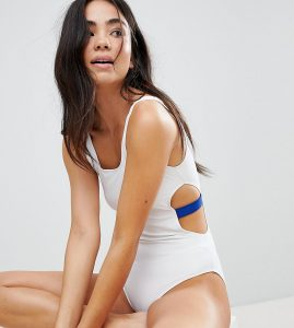 Contrast Cut Out Side Swimsuit - White