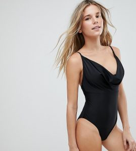 Cowl Neck Strappy Swimsuit - Black