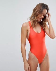 Cut Out Detail Halter Swimsuit - Red