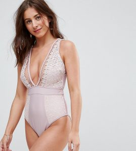Dot Mesh And Flower Trim Swimsuit DD - G Cup - Pink