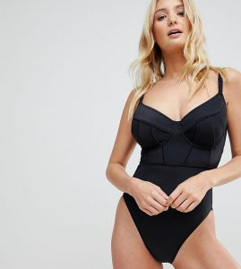 Exclusive Contour Panel Underwired Swimsuit DD-G - Black