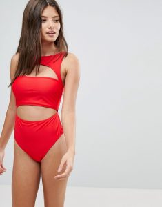 Exclusive Cut Out High Neck Swimsuit DD-G - Red