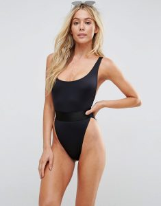 High Leg Elastic Waist Swimsuit - Black