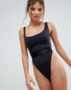 High Leg Elastic Waist Swimsuit DD-G - Black