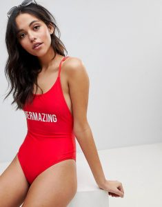 High Leg Slogan Print Swimsuit With Double Cross Back - Red