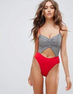 Houndstooth Colour Block Cut Out Lori Swimsuit - Red