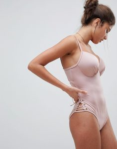 London Lace Up Swimsuit - Pink