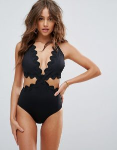 London Scallop Hem Cut Out Swimsuit - Black