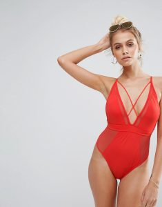 Mesh Insert Strappy Swimsuit - Red