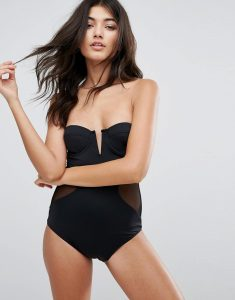 Mesh Side Evelyn Swimsuit - Black