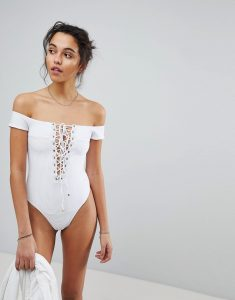 Off Shoulder One Piece Swimsuit - White