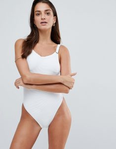 Plunge Ribbed Swimsuit - White
