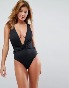 Plunge Ruched Front Swimsuit - Black