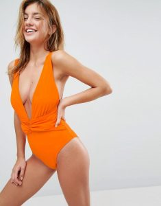 Plunge Ruched Front Swimsuit - Orange