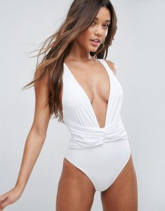 Plunge Ruched Front Swimsuit - White
