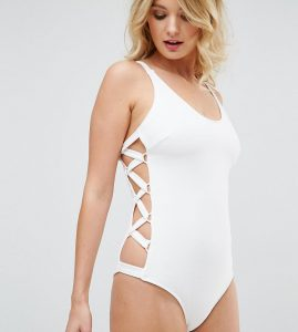 Ribbed Lace Up Side Swimsuit DD - G Cup - White