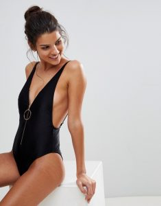 Ribbed Zip Plunge Swimsuit - Black