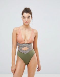 Saddle Stitch Cut Out Detail Swimsuit - Multi