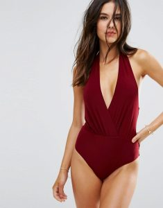 Simple Wrap Over Swimsuit - Red