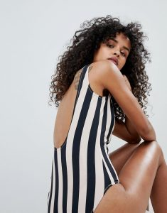 Stripe Swimsuit - Black