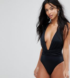 ASOS PETITE Plunge Ruched Front Swimsuit - Black