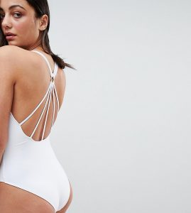 ASOS TALL Strappy Ring Back Swimsuit - White