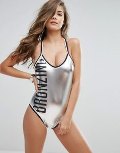 Bronzing Metallic Swimsuit - Silver