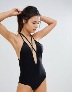Plunge Front Swimsuit With Strapping - Black
