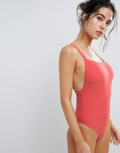 square neck ribbed swimsuit - Red