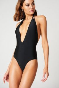 NA-KD Swimwear Halterneck Plunge Swimsuit - Black