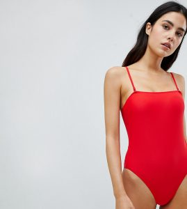 Red High Leg Square Neck Swimsuit - Red