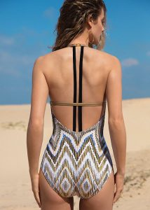 Gottex Couture Golden Sand V Neck Unique Back Swimsuit