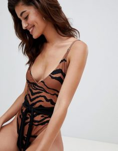 Animal Print Tie Front Swimsuit - Brown