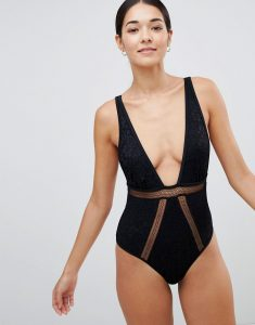 Minkpink Simone Cut Out Plunge Swimsuit - Black