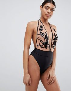 Sicily Sequin Swimsuit - Black