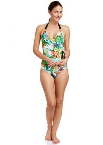 Rosch Pretty Plumeria Halter Neck Swimsuit