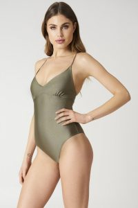 NA-KD Swimwear Lacing Back Swimsuit - Green