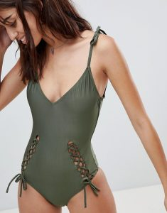 Cut Out Detail Halter Swimsuit - Green